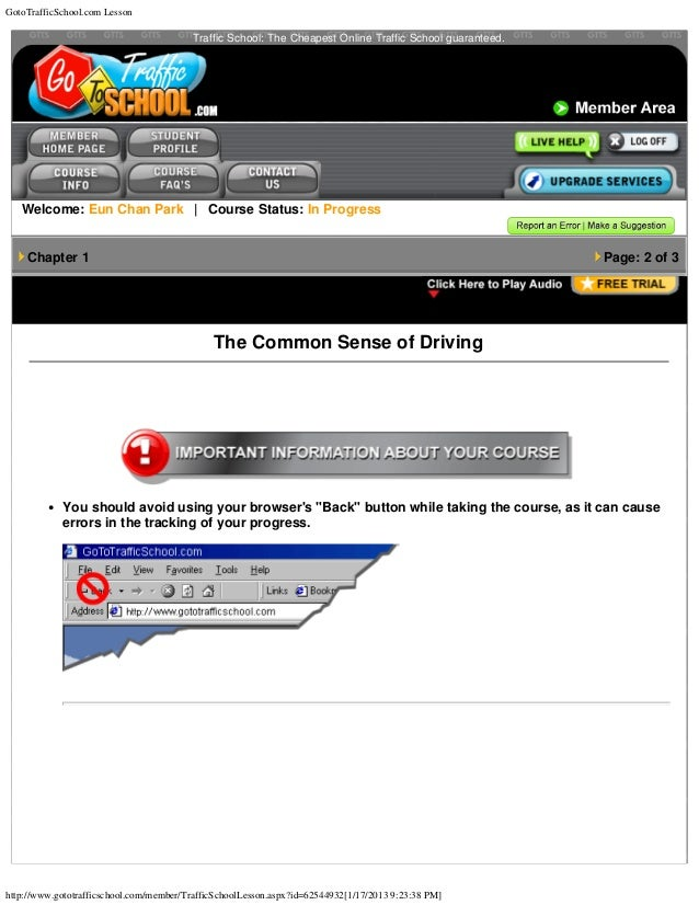 Go To Traffic School >> Goto trafficschool.com lesson 1
