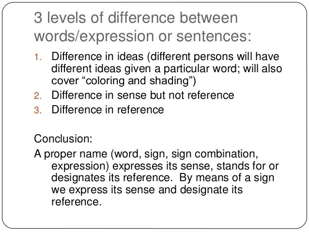 difference between sense and reference