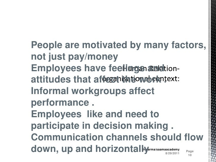 Human Relation- organisational context:<br />8/29/2011<br />Page 10<br />dr.sarma/saamaacademy<br />People are motivated b...