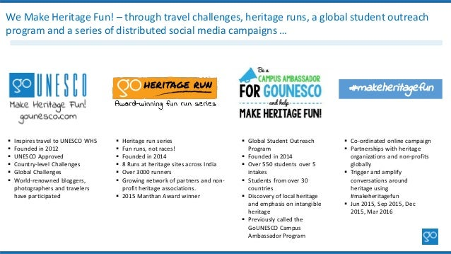  Inspires travel to UNESCO WHS  Founded in 2012  UNESCO Approved  Country-level Challenges  Global Challenges  World...