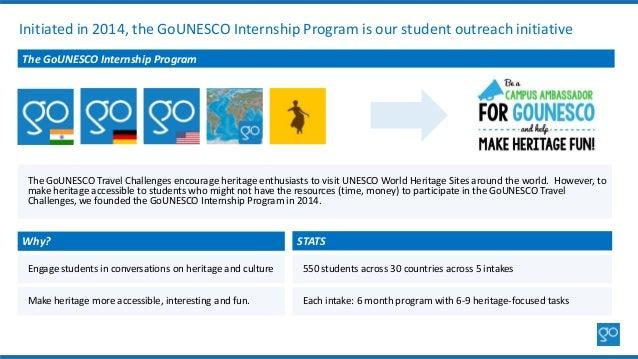 Initiated in 2014, the GoUNESCO Internship Program is our student outreach initiative The GoUNESCO Internship Program The ...