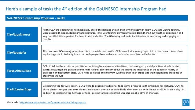 Here's a sample of tasks the 4th edition of the GoUNESCO Internship Program had GoUNESCO Internship Program - Tasks #herit...