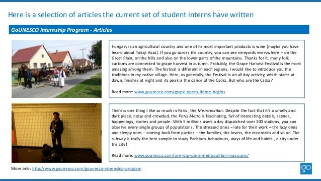 Here is a selection of articles the current set of student interns have written GoUNESCO Internship Program - Articles Mor...