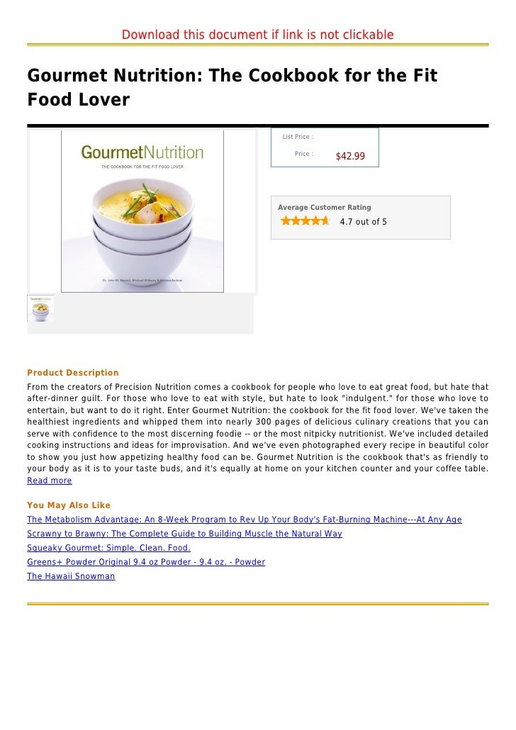 Gourmet nutrition the cookbook for the fit food lover forumfinder Images