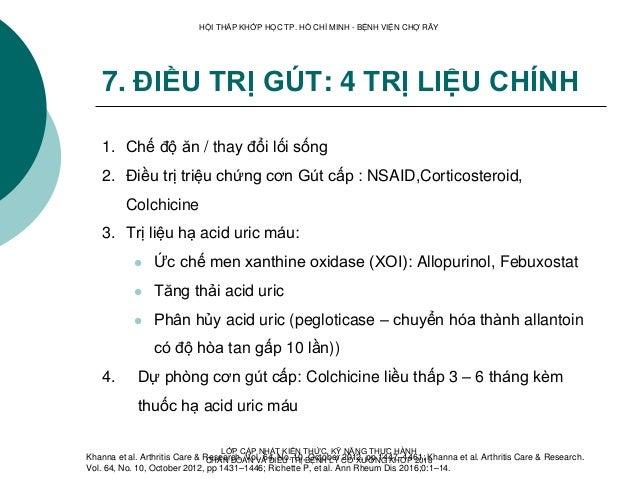 7. ĐIỀU TRỊ GÚT: 4 TRỊ LIỆU CHÍNH 1. Chế độ ăn / thay đổi lối sống 2. Điều trị triệu chứng cơn Gút cấp : NSAID,Corticoster...