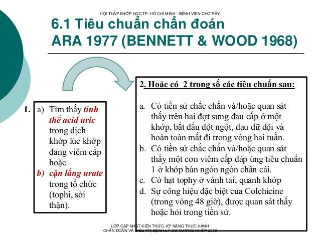 6.1 Tiêu chuẩn chẩn đoán ARA 1977 (BENNETT & WOOD 1968) a) Tìm thấy tinh thể acid uric trong dịch khớp lúc khớp đang viêm ...