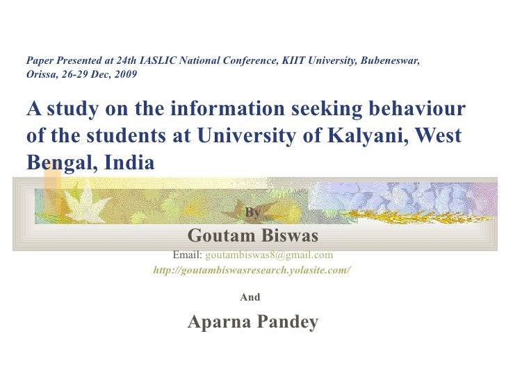 Paper Presented at 24th IASLIC National Conference, KIIT University, Bubeneswar, Orissa, 26-29 Dec, 2009 A study on the in...
