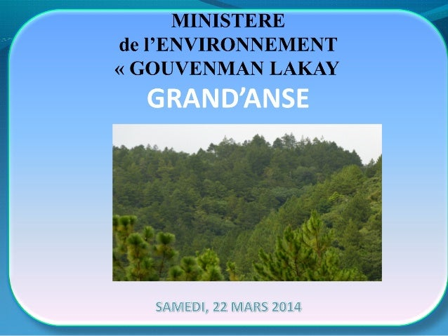 5 AXES D'INTERVENTIONS DU MINISTERE DE L'ENVIRONNEMENT /GRAND'ANSE AXE 1: REPRÉSENTÉPARLESINTERVENTIONS INTERSECTORI...