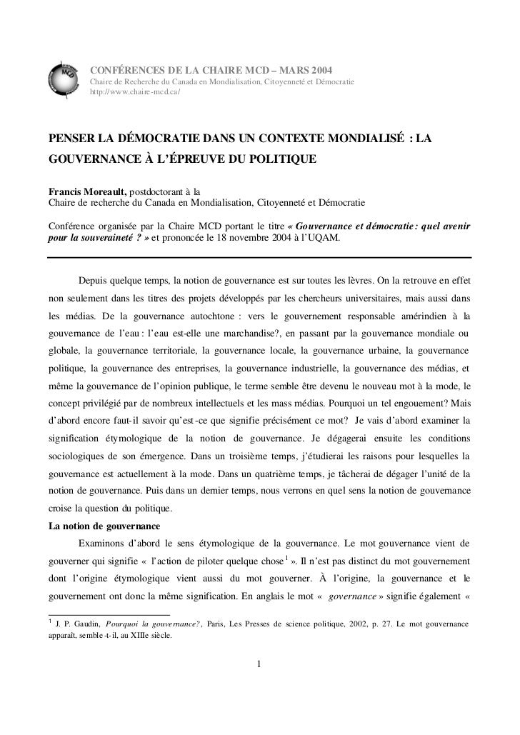 CONFÉRENCES DE LA CHAIRE MCD – MARS 2004           Chaire de Recherche du Canada en Mondialisation, Citoyenneté et Démocra...