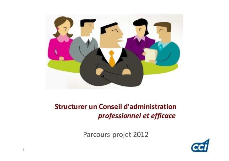 Structurer un Conseil dadministration                  professionnel et efficace             Parcours-projet 20121