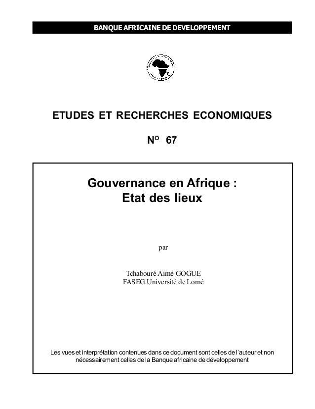 Gouvernance en afrique etat des lieux banque africaine