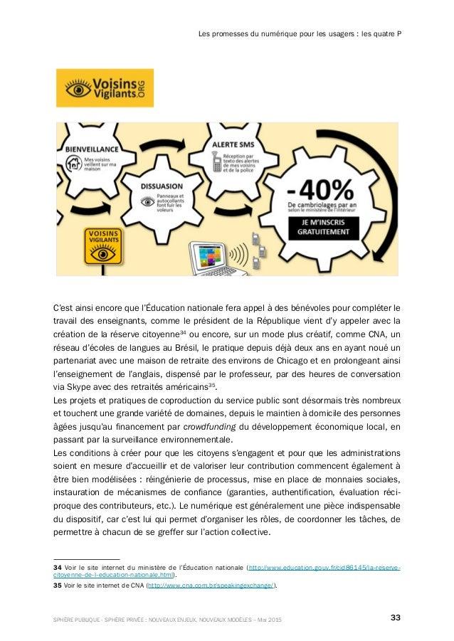 33SPHÈRE PUBLIQUE - SPHÈRE PRIVÉE : NOUVEAUX ENJEUX, NOUVEAUX MODÈLES – Mai 2015 Les promesses du numérique pour les usage...