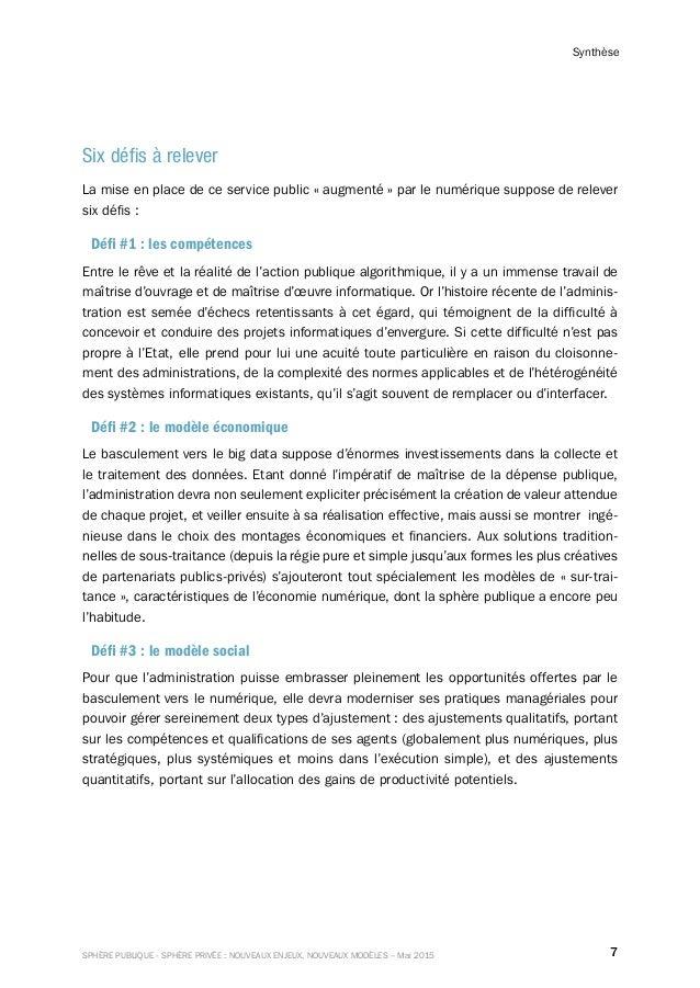 7SPHÈRE PUBLIQUE - SPHÈRE PRIVÉE : NOUVEAUX ENJEUX, NOUVEAUX MODÈLES – Mai 2015 Synthèse Six défis à relever La mise en pl...