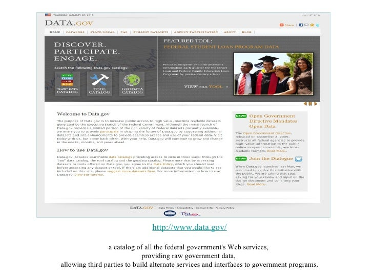http://www.data.gov/ a catalog of all the federal government's Web services,  providing raw government data,  allowing thi...