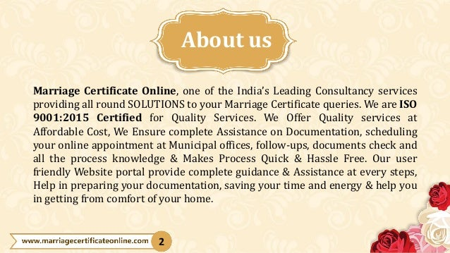 Marriage Certificate Online, one of the India's Leading Consultancy services providing all round SOLUTIONS to your Marriag...