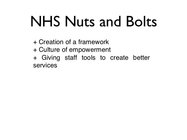 NHS Nuts and Bolts+ Creation of a framework+ Culture of empowerment+ Giving staff tools to create betterservices