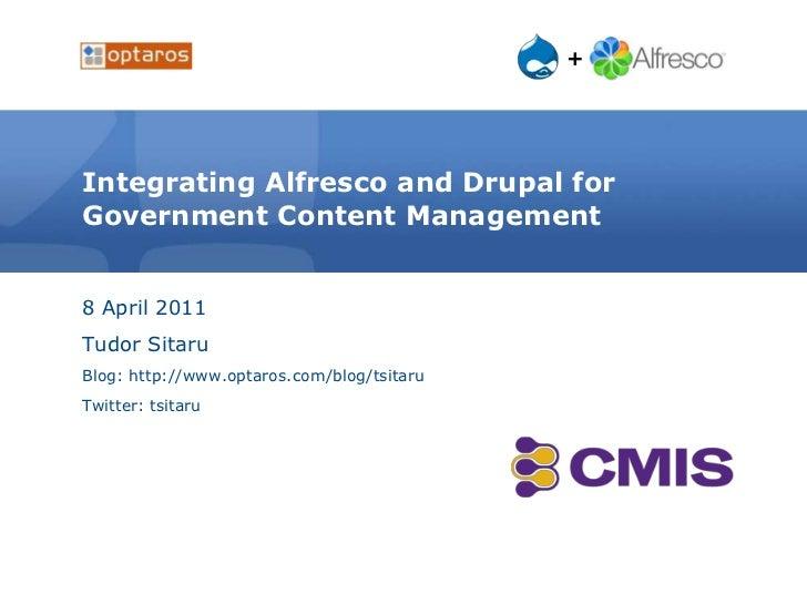 Integrating Alfresco and Drupal for Government Content Management<br />8 April 2011<br />Tudor Sitaru<br />Blog: http://ww...