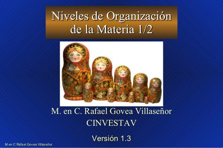 Niveles de Organización de la Materia 1/2 M. en C. Rafael Govea Villaseñor CINVESTAV Versión 1.3