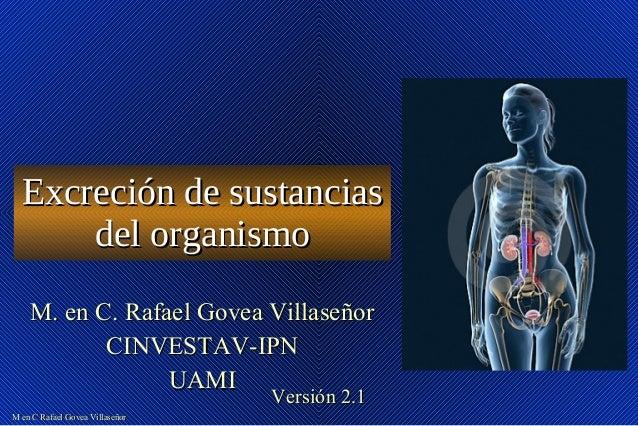 M en C Rafael Govea VillaseñorM en C Rafael Govea Villaseñor Excreción de sustanciasExcreción de sustancias del organismod...