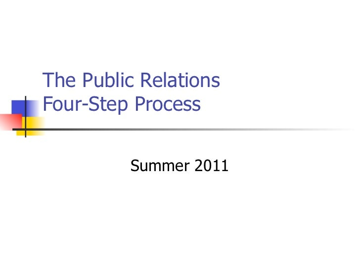 The Public RelationsFour-Step Process         Summer 2011