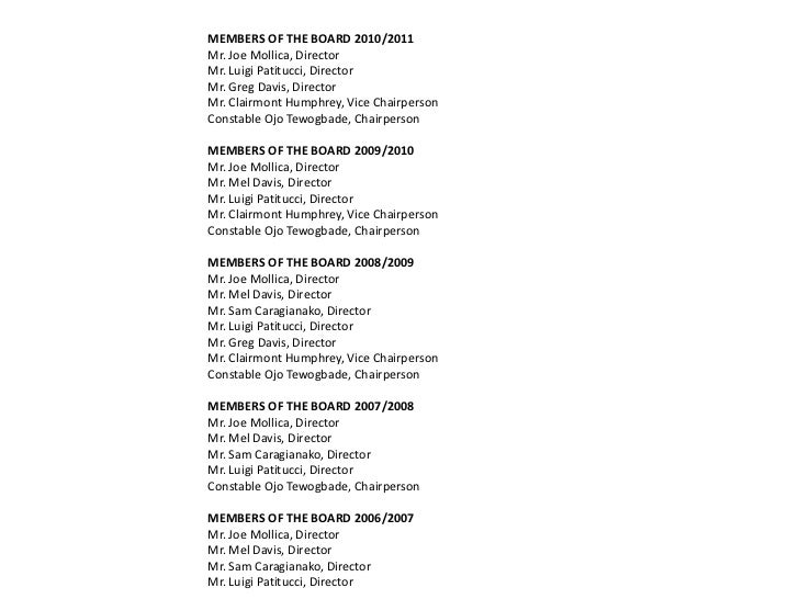 MEMBERS OF THE BOARD 2010/2011Mr. Joe Mollica, DirectorMr. Luigi Patitucci, DirectorMr. Greg Davis, DirectorMr. Clairmont ...