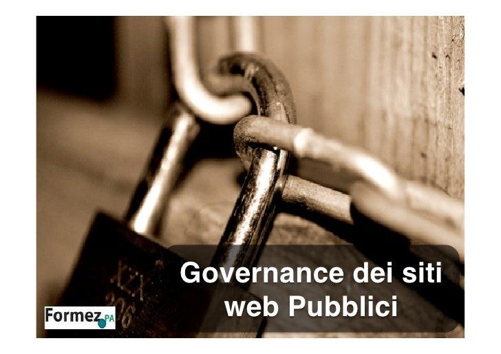 Governance dei siti  web Pubblici