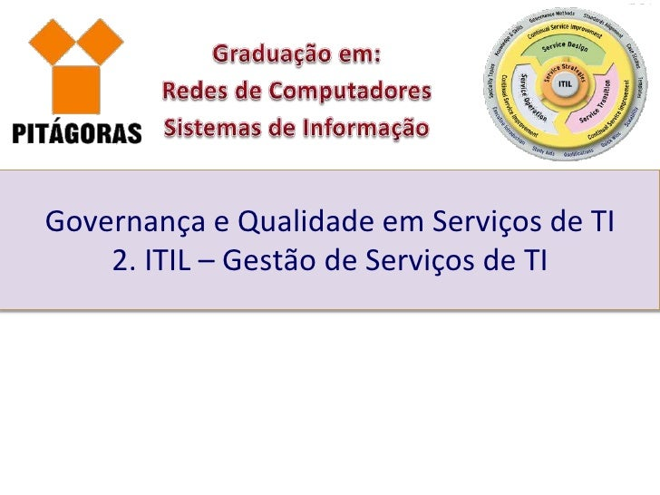 Governança e Qualidade em Serviços de TI    2. ITIL – Gestão de Serviços de TI