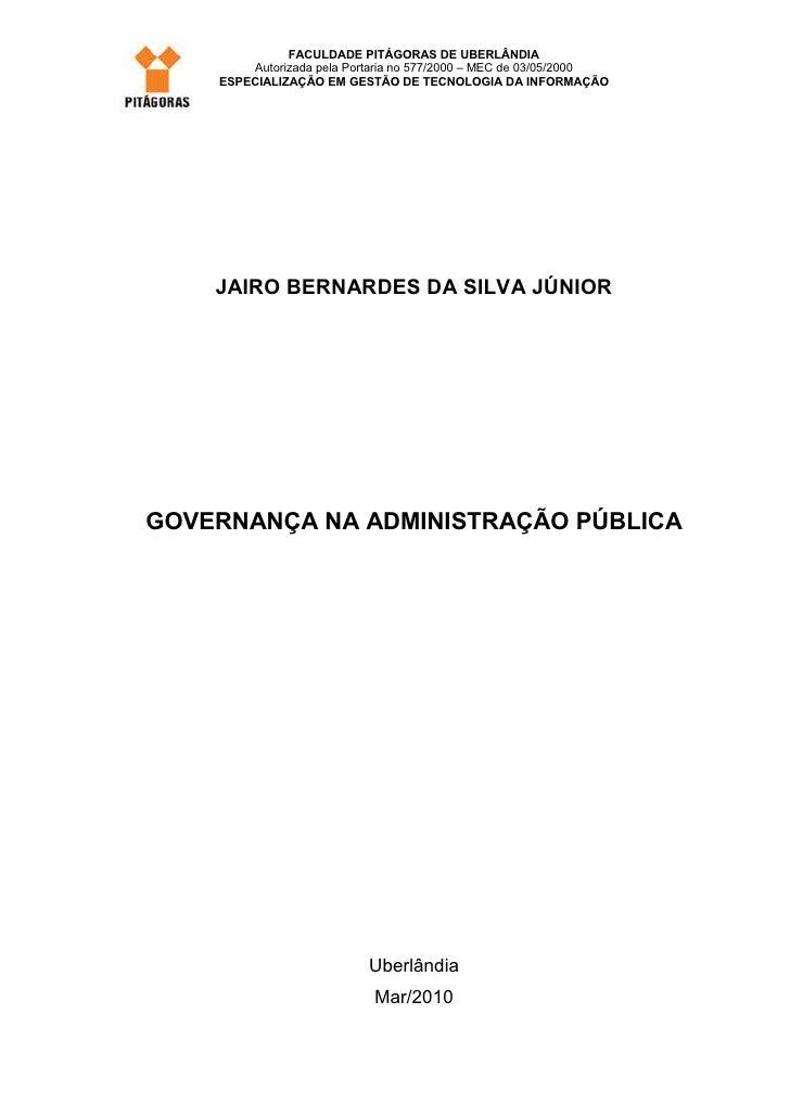 FACULDADE PITÁGORAS DE UBERLÂNDIA        Autorizada pela Portaria no 577/2000 – MEC de 03/05/2000    ESPECIALIZAÇÃO EM GES...