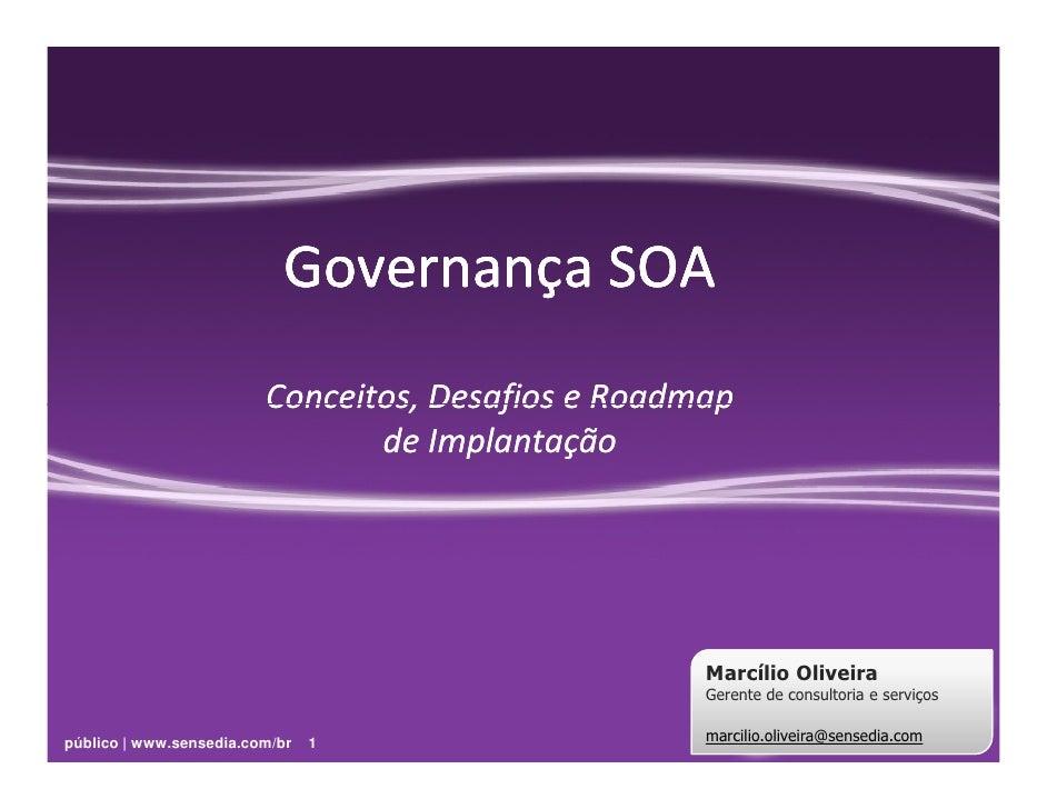 Governança SOA                          Conceitos, Desafios e Roadmap                                 de Implantação      ...