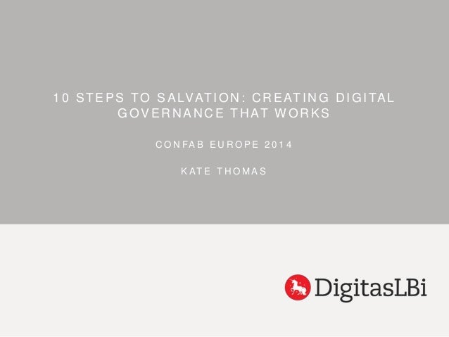 1 0 STEPS TO SALVATION: CREATING DIGITAL  GOVERNANCE THAT WORKS  C O N FA B E U R O P E 2 0 1 4  K AT E T H OMA S