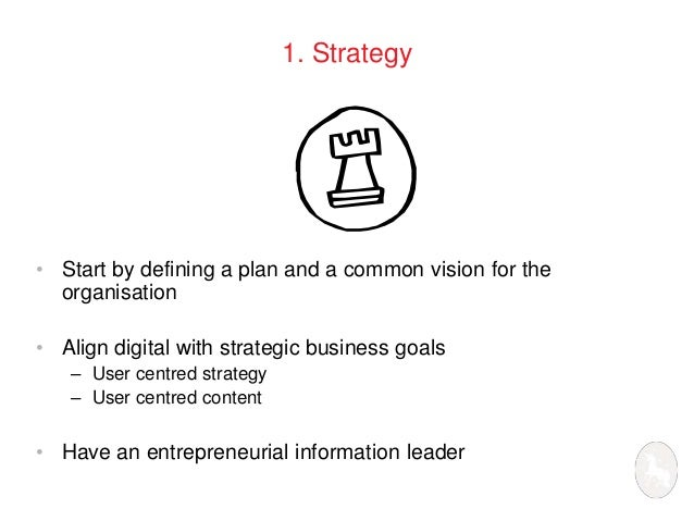 1. Strategy  • Start by defining a plan and a common vision for the  organisation  • Align digital with strategic business...