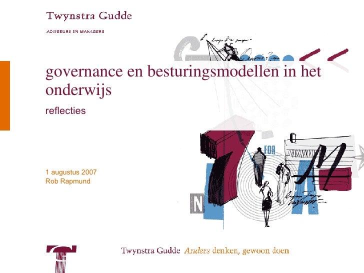 governance en besturingsmodellen in het onderwijs reflecties