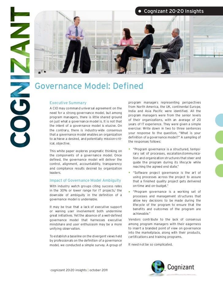 • Cognizant 20-20 InsightsGovernance Model: Defined   Executive Summary                                      program manag...