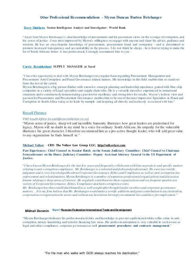myron betshanger resume