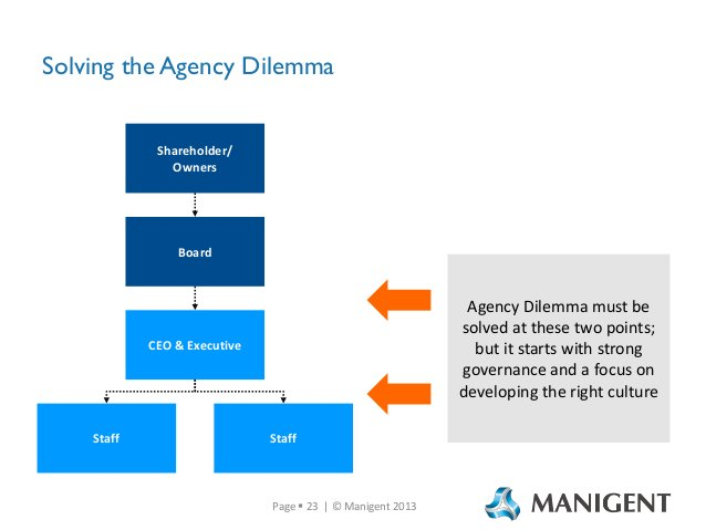 Solving the Agency Dilemma  Shareholder/ Owners  Board  Agency Dilemma must be solved at these two points; but it starts w...