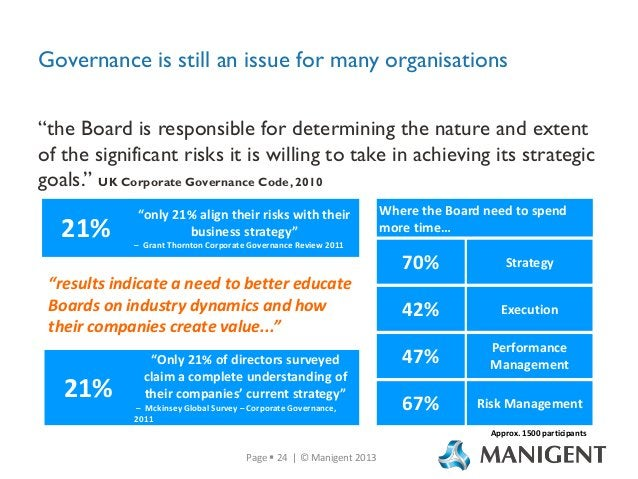 """Governance is still an issue for many organisations """"the Board is responsible for determining the nature and extent of the..."""