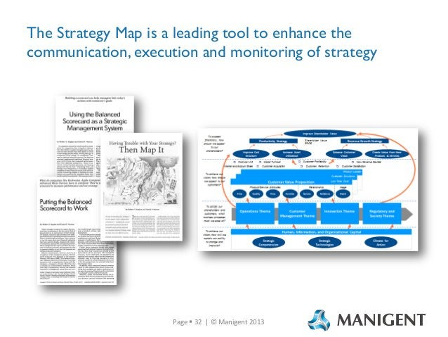 The Strategy Map is a leading tool to enhance the communication, execution and monitoring of strategy  Page  32 | © Manig...