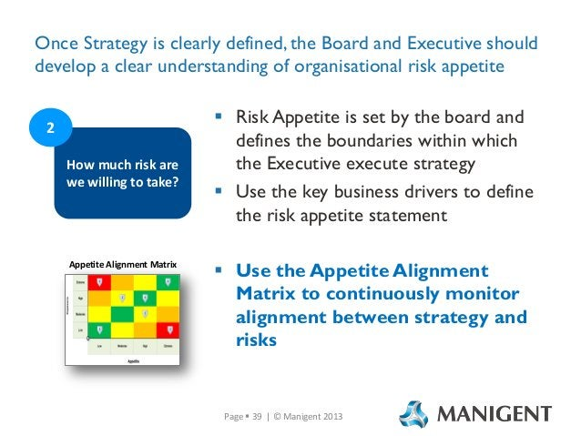 Once Strategy is clearly defined, the Board and Executive should develop a clear understanding of organisational risk appe...