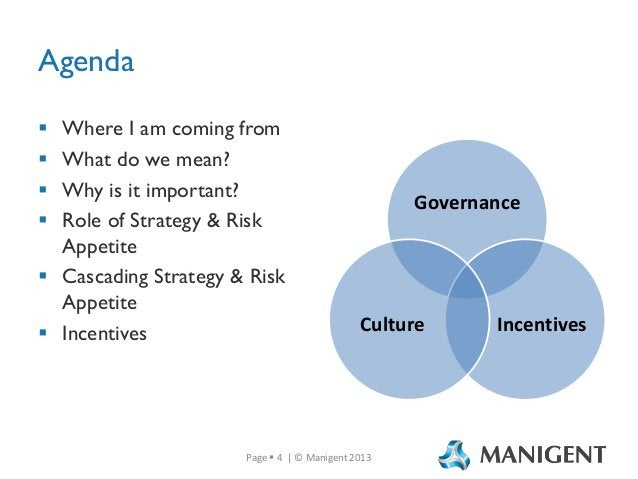 Agenda Where I am coming from What do we mean? Why is it important? Role of Strategy & Risk Appetite  Cascading Strategy ...