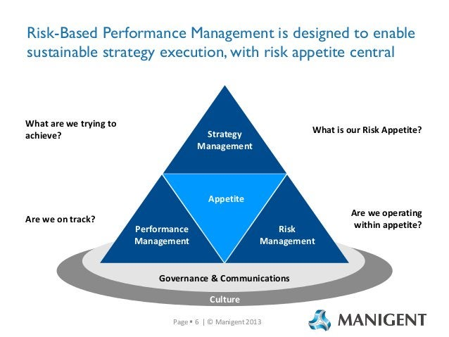 Risk-Based Performance Management is designed to enable sustainable strategy execution, with risk appetite central  What a...