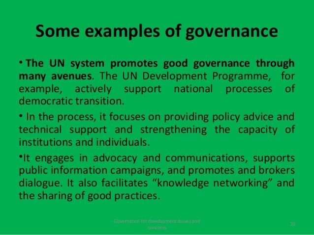 Governance For Development Issues And Cocerns