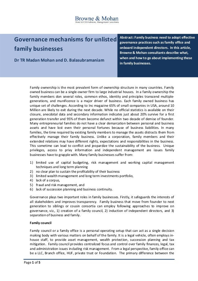 Page 1 of 5 Governance mechanisms for unlisted family businesses Dr TR Madan Mohan and D. Balasubramaniam Abstract: Family...