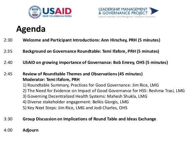 Governance Roundtable Brown Bag Presentation Slide 2