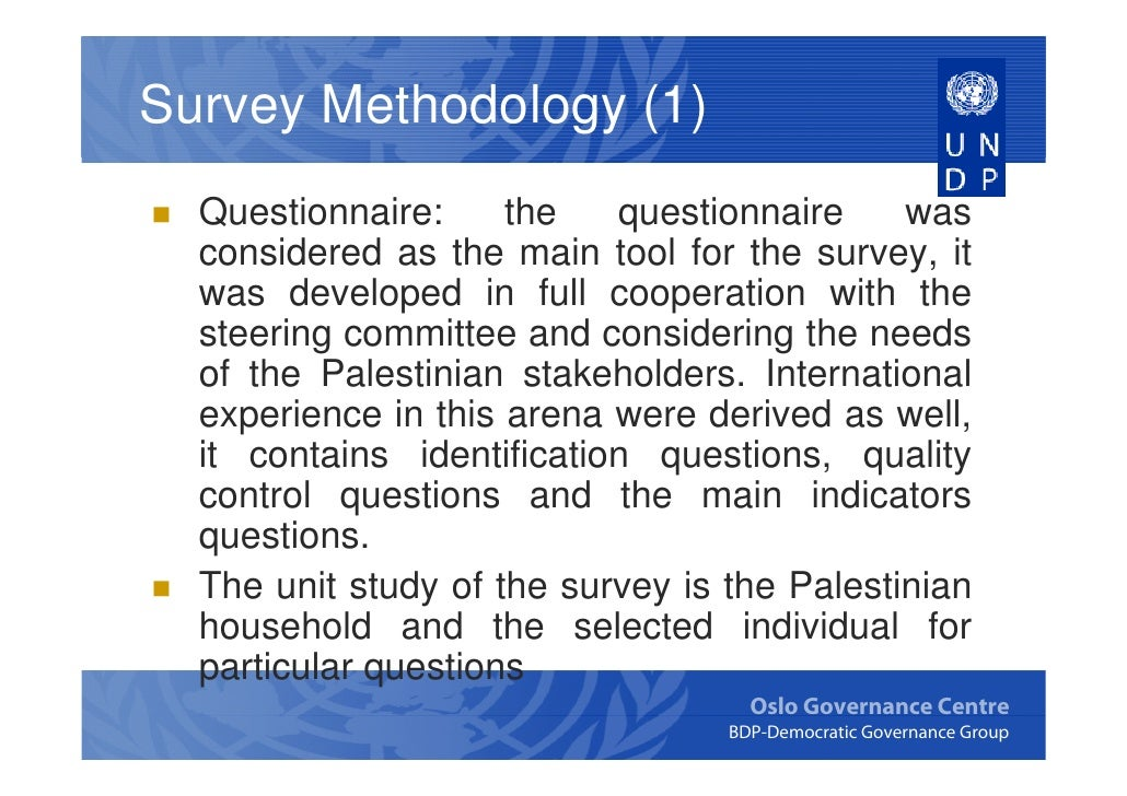 Governance survey conducted by the palestinian central for Household survey questionnaire design