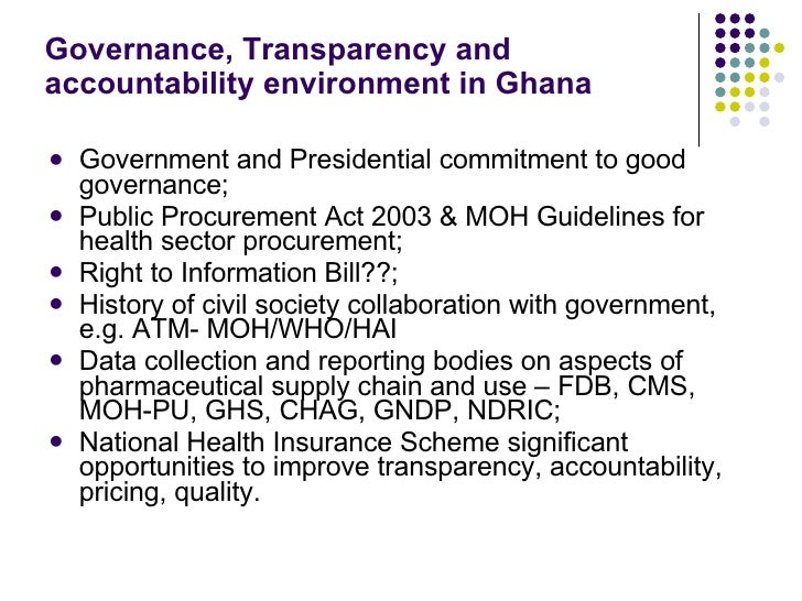 transparency for governance Steering senegal towards greater transparency in governance and public finance management  is just one component of a larger governance program that is working.