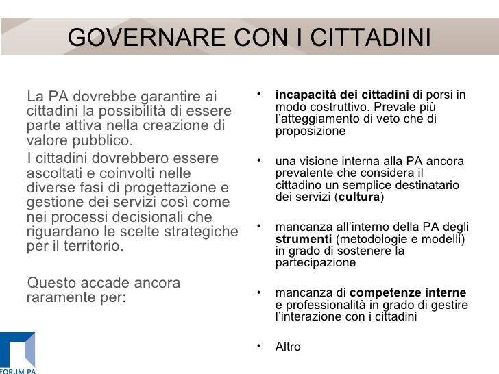 GOVERNARE CON I CITTADINI <ul><li>La PA dovrebbe garantire ai cittadini la possibilità di essere parte attiva nella creazi...