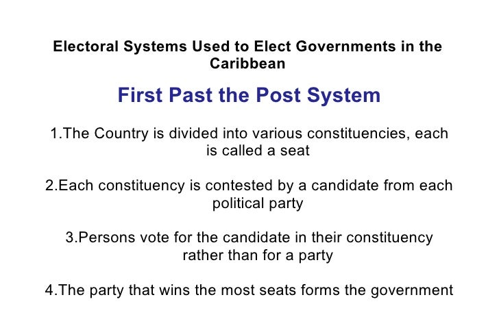 electoral systems in the caribbean The electoral department is the entity charged with the administration of the elections act  evaluating and assessing electoral systems,  caribbean elections.