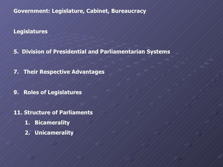 <ul><li>Government: Legislature, Cabinet, Bureaucracy </li></ul><ul><li>Legislatures </li></ul><ul><li>Division of Preside...