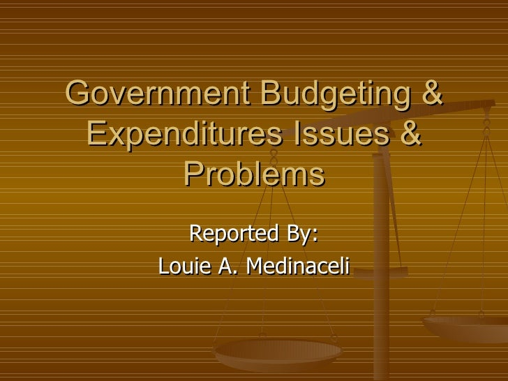 Government Budgeting & Expenditures Issues & Problems Reported By: Louie A. Medinaceli