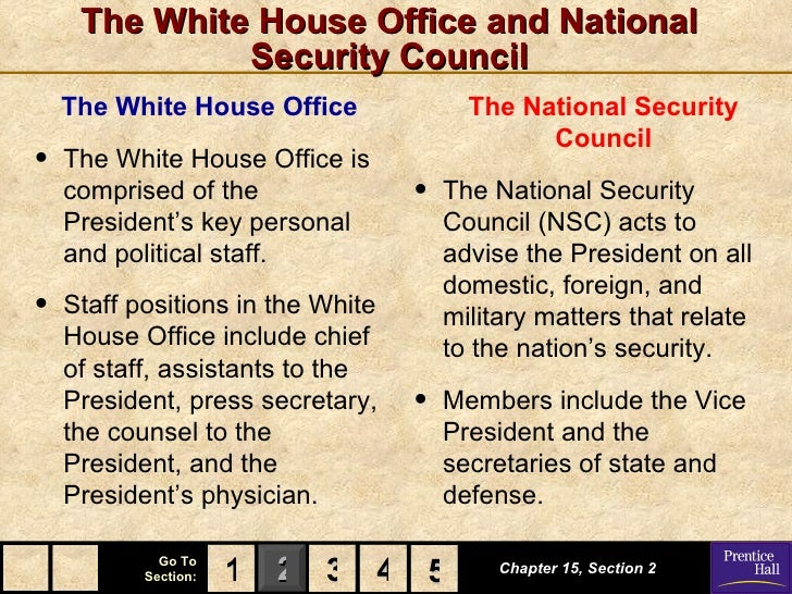 The White House Office and National              Security Council    The White House Office               The National Sec...